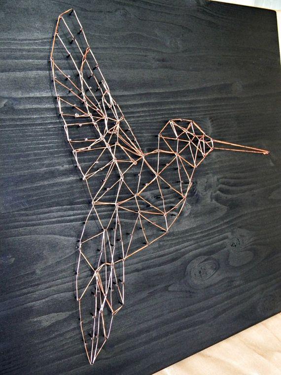 Tekenreeks Art Hummingbird kunst geometrische door DanaraStringArt