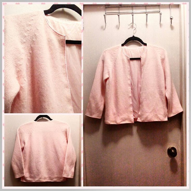 Vintage pale pink lined cashmere cardigan sweater with satin trim, M.  Excellent condition.  A beauty!