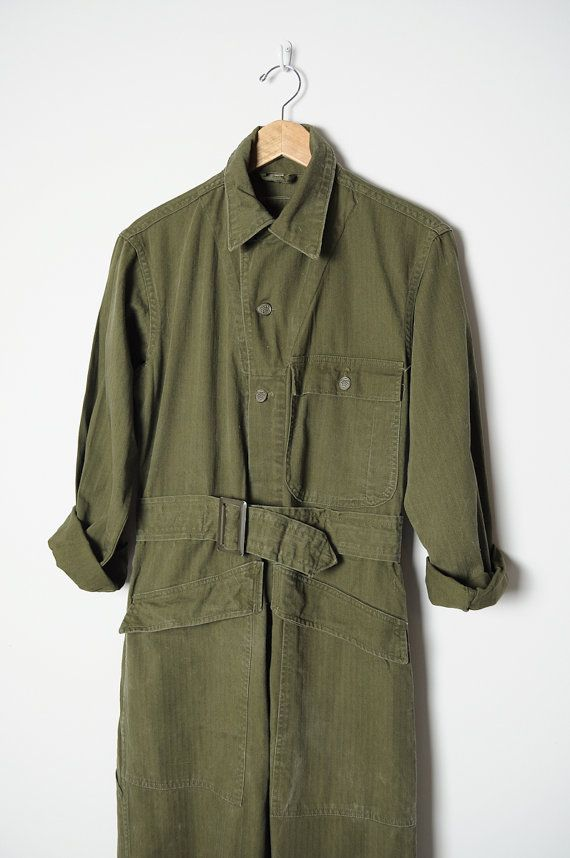 vintage 60s ARMY COVERALLS military cotton work by AmericanTwill