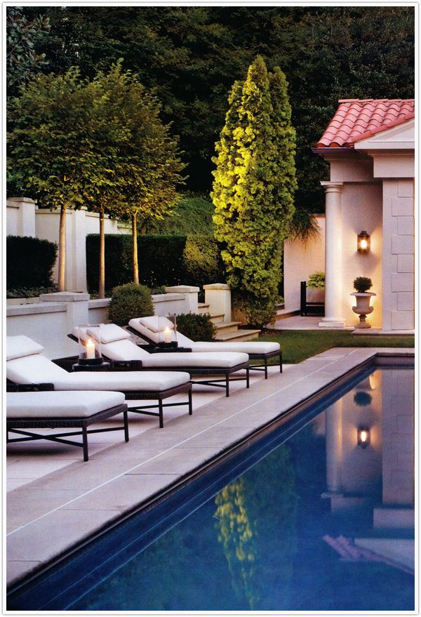 LOVE the trees in this & the walls behind (obviously not the roof of pool house or anything)