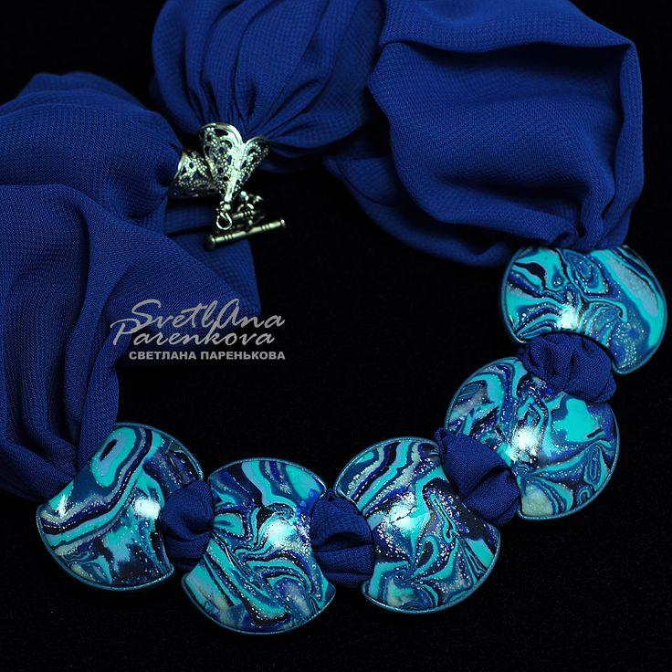 Светлана Паренькова Svetlana Parenkova http://www.livemaster.ru/parenkova   #украшение  #jewelery #полимернаяглина #fimo  #polymerclay #колье #дизайн #мода #синий