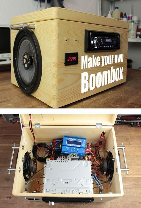 This boombox is made out of a car radio, salvaged speakers, and two 12V lead acid batteries. Plays for 9 hours continuously!