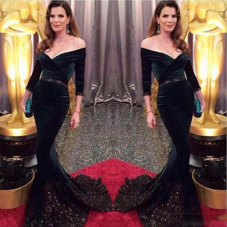 ==> [Free Shipping] Buy Best 2017 SexyV Neck Velvet Celebrity Mermaid Prom Dresses Dark Green Prom Dress Off the Shoulder Crystals lace Evening Party Gowns Online with LOWEST Price | 32805341727
