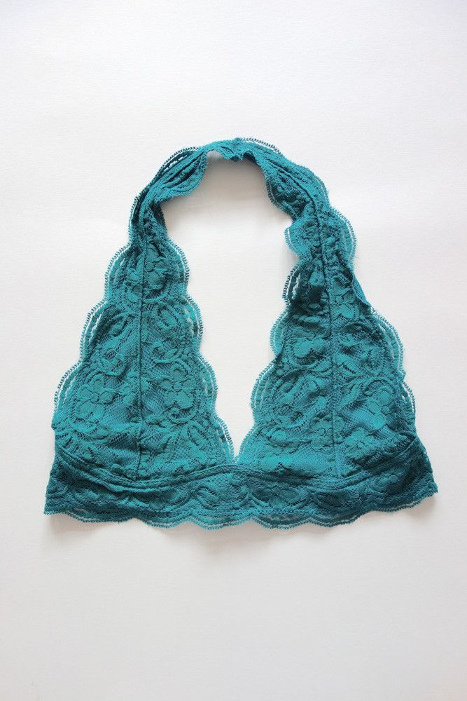 Well, we might be biased, but we think this bralette is pretty perfect! Stretchy halter bralette features a floral lace exterior with scalloped edges. Lined bralette is finished with three rows of hoo