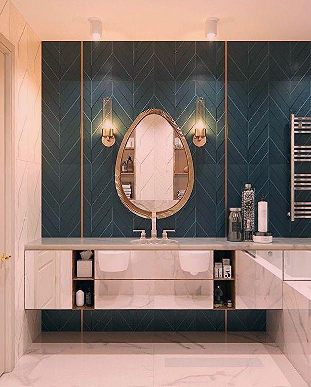 salle de bain art deco carrelage bleu canard blog clem la vuelta de la esquina in 2020   Round ...