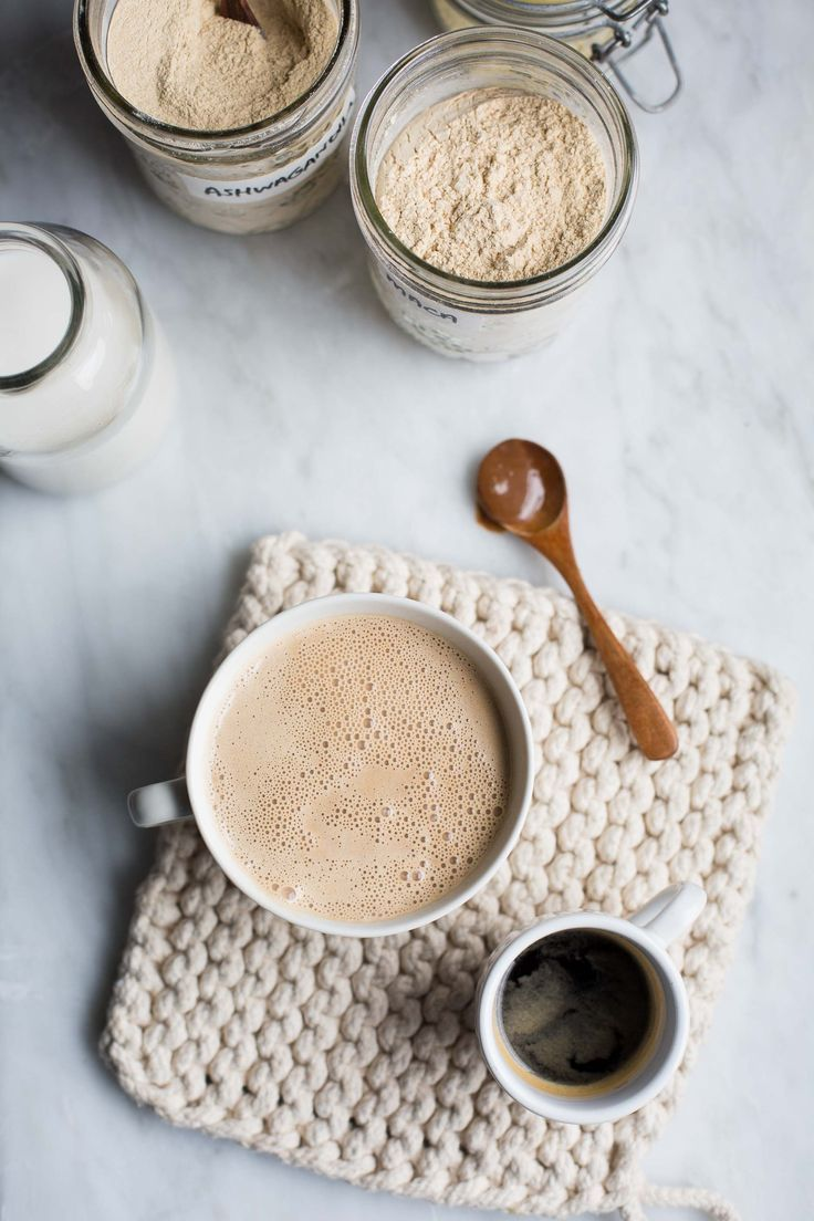 Maca, ashwaghanda, hazelnut butter coffee. This delicious morning elixir is made with creamy hazelnut butter and adaptogens that support the body's response to stress. A perfect way to start the day.