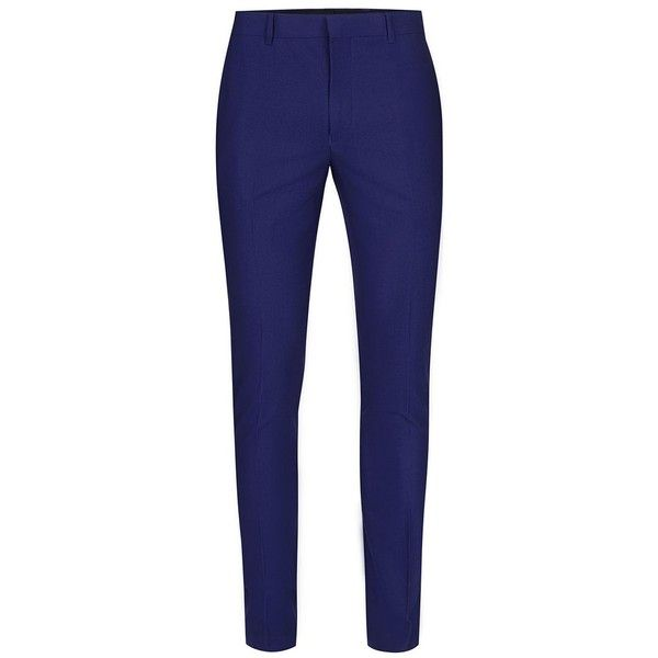 TOPMAN Deep Blue Textured Ultra Skinny Fit Suit Trousers ($65) ❤ liked on Polyvore featuring men's fashion, men's clothing, men's pants, men's dress pants, blue, mens skinny suit pants, mens skinny fit dress pants, mens blue pants, mens zip off pants and mens skinny pants
