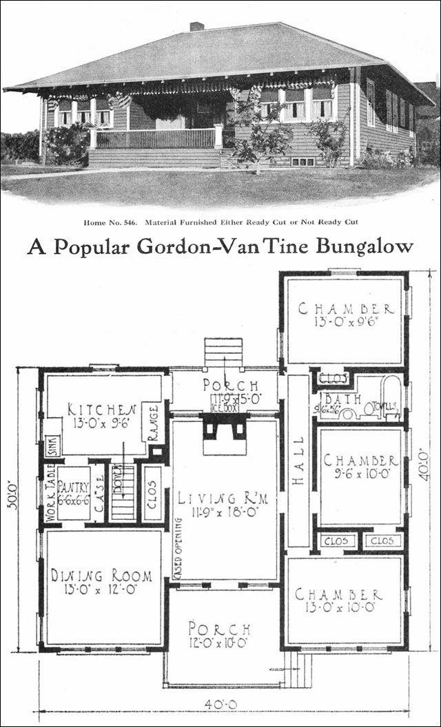Eclectic Bungalow   sq  ft    No  by Gordon Van Tine     by Gordon Van Tine   Vintage house plans for small home inspiration   Bungalows   Pinterest   Bungalows  Vintage