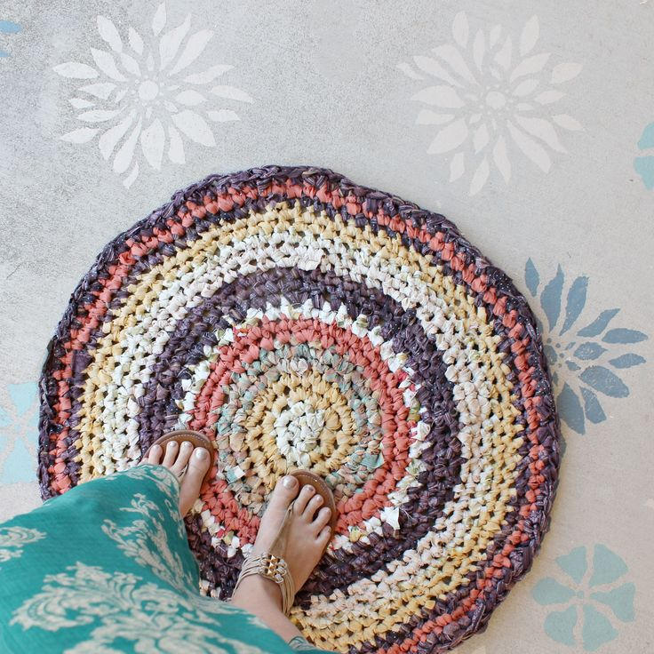 What a gorgeous way to use old bed linen. Crochet cotton rag rug (new arrival in Recycled Gallery) made by local artisan Heidi.