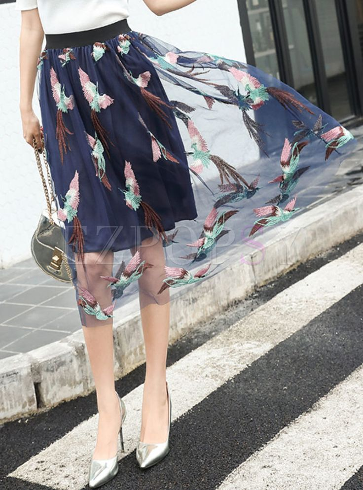 Shop for high quality Casual Phoenix Embroidered Perspective Gauze Skirt online at cheap prices and discover fashion at Ezpopsy.com