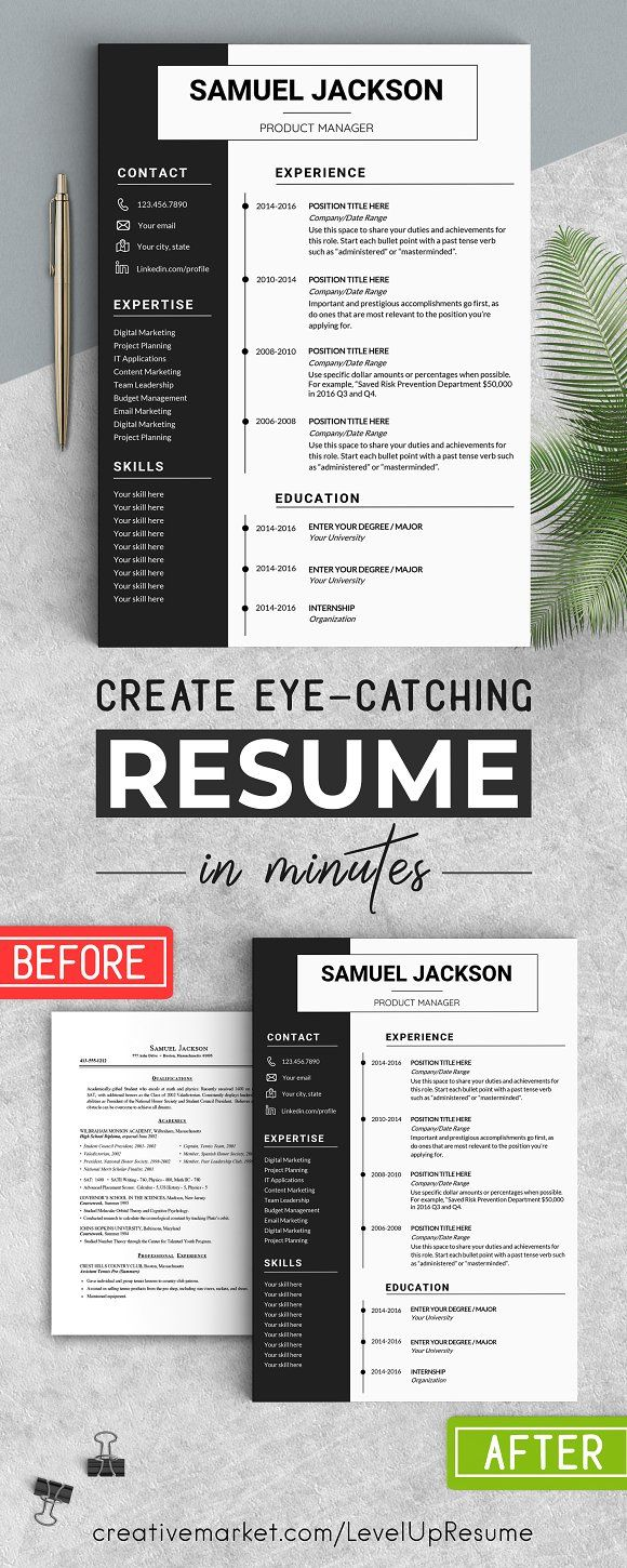 Word Resume Template - CV Design by LevelUpResume on @creativemarket