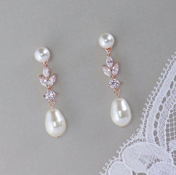 Pearl Bridal Earrings Rose Gold Earrings Pearl Stud Bridal
