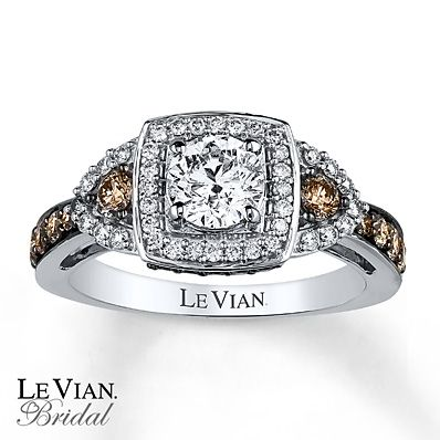 Le Vian Engagement Ring 1 3/8 ct tw Diamonds 14K Vanilla Gold. (the one I tried on with him had none of the chocolate diamonds they were all white diamonds and I FELL IN LOVE)