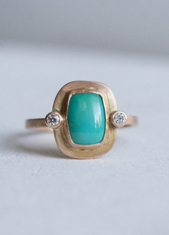 Turquoise & Diamond Ring | Mineralogy Design on Etsy