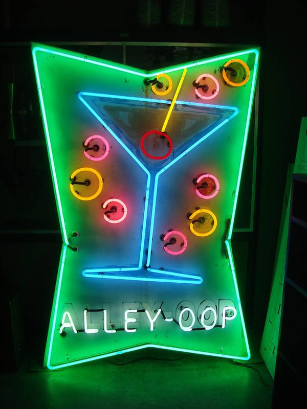 40's 50's VINTAGE NEON SIGN ALLEY OOP BOWLING COCKTAIL | eBay