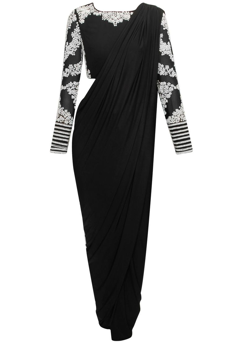 Black sari with embroidered blouse and pants  by Bhaavya Bhatnagar. Shop now: www.perniaspopups.... #bhaayabhatnagar #pants #blouse #clothing #ethnic #perniaspopupshop #shopnow #happyshopping