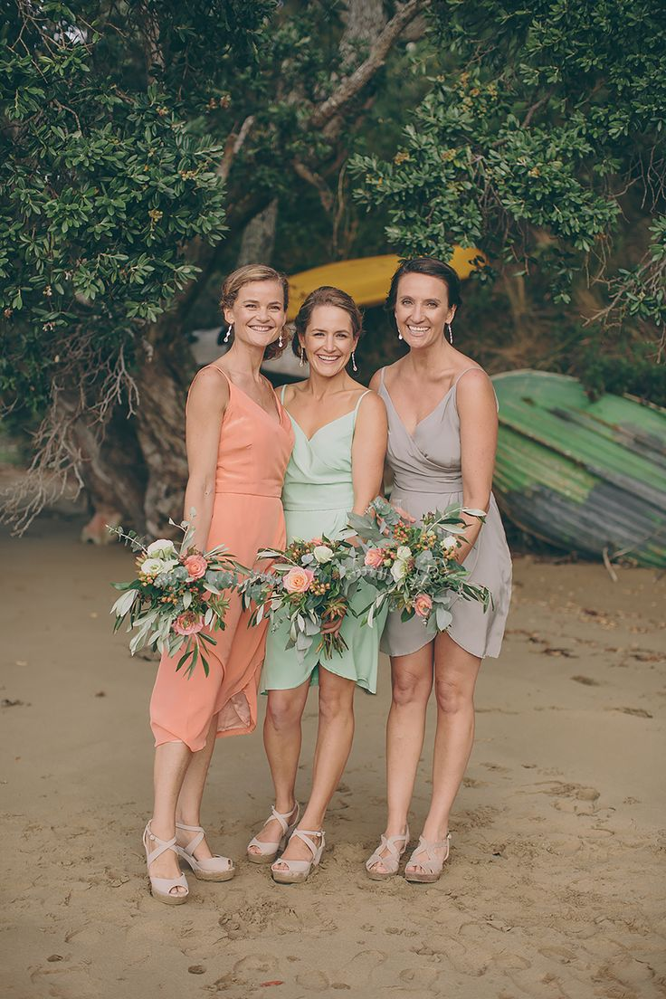 For Rachels Wedding we made our Cross Over Top and Cross Over Skirt Dresses in silk in three different beautiful colours which matched perfectly with the flowers!