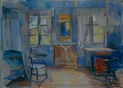 Interiør fra Einabu i Foldal by Harriet Backer, 1920