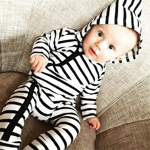 ff01bedfb2f Emmababy New born Baby Boy Girl Hoodie Romper bebe kids warm black white  striped zipple Jumpsuit Playsuit Romper Outfits Clothes