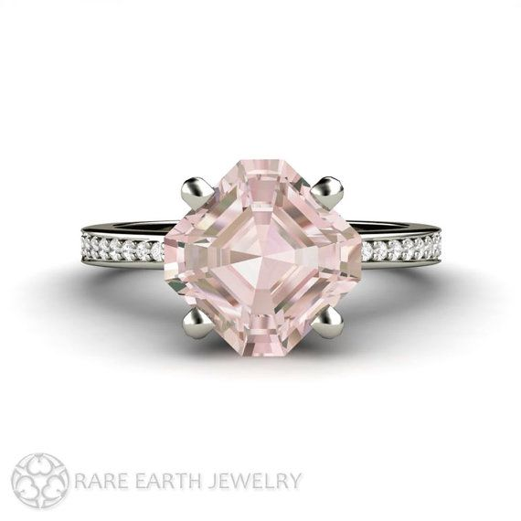 Morganite Ring Asscher Morganite Engagement Ring with Conflict Free Diamonds by RareEarth