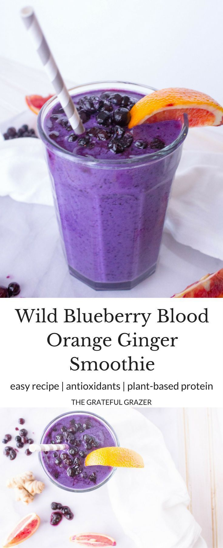 Ad: Wild Blueberry Blood Orange Ginger Smoothies! Such a refreshing and delicious recipe with silken tofu for creamy texture and plant-based protein. Vegan. via @gratefulgrazer
