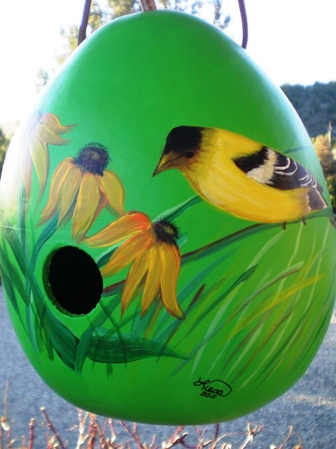 Hand painted gourd bird houses made in Colorado. www.facebook.com/...