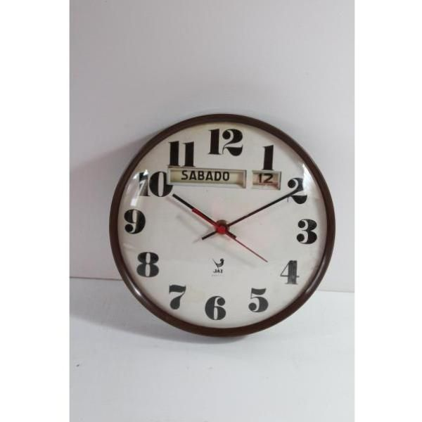 Antiguo reloj calendario de pared en color marrón, Jac