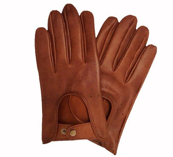 Men's+Driving+Gloves+Italian+Lambskin+unlined+Brown+Sheepskin+leather+gloves+Size+7,5+inches+M
