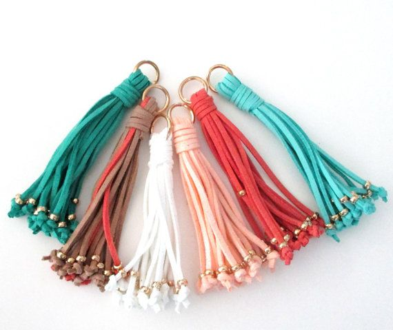 Suede Tassels  Assorted Colors Fuax Suede Tassel  Gold Caps