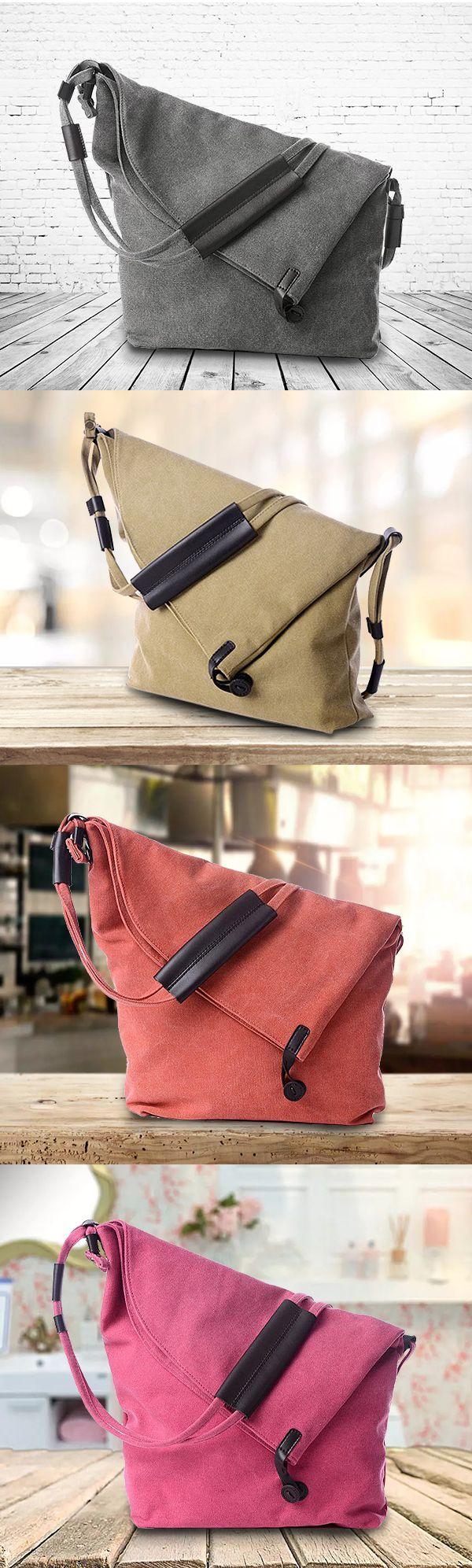US$23.14 Women Vintage Canvas Casual Large Capacity Crossbody Bags Leisure Retro Shoulder Bags