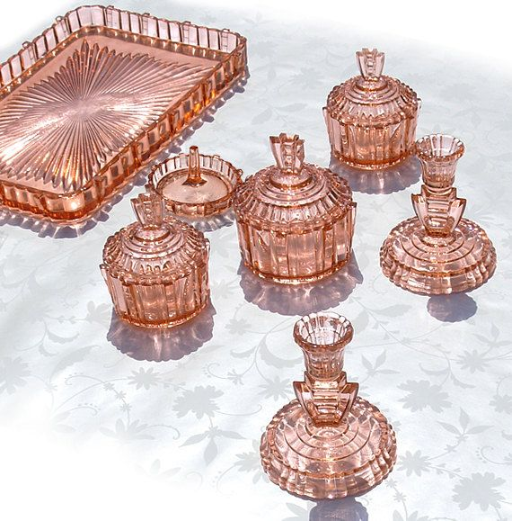 Depression Glass Vanity Set.....love. The cut and reflective color of this reminds me of stained glass in a European cathedral