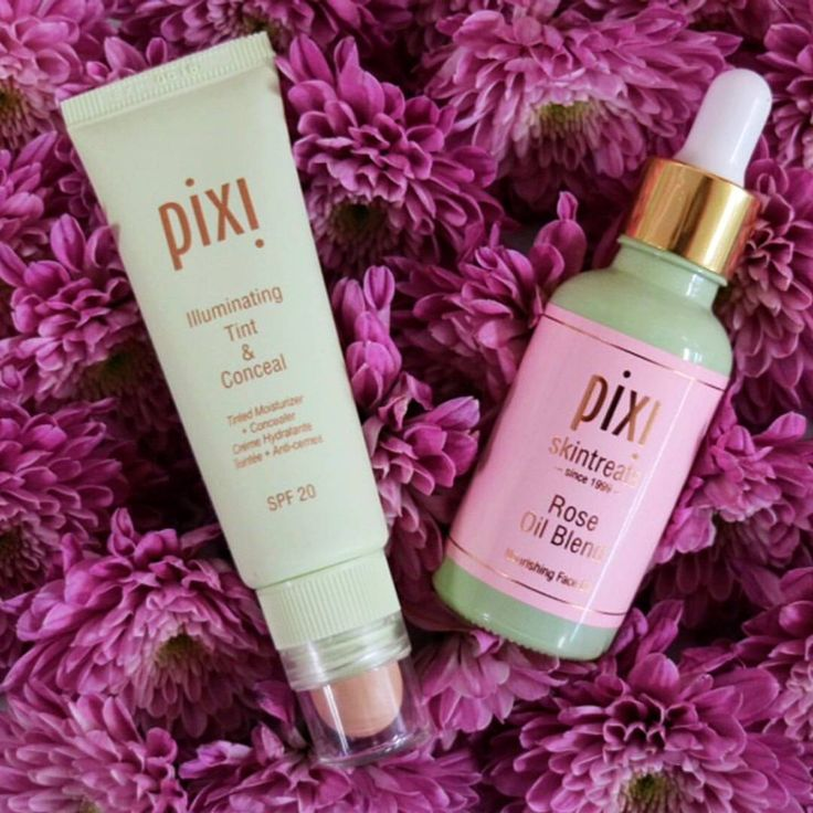 Pixi Pro Tip: Mix two drops of Rose Oil Blend with a coin-sized amount of tinted moisturizer from Illuminating Tint & Conceal for a dewy springtime glow! #Makeup #PixiBeauty
