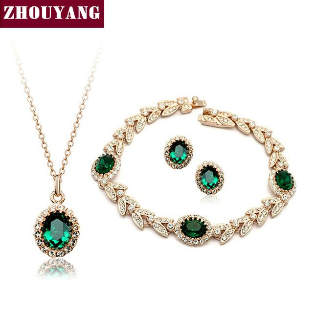 ZHOUYANG ZYS108 Rose Gold Color Created Emerald Green Austrian Crystal Jewelry Set With 3 Pcs Eearrings + Necklace + Bracelet