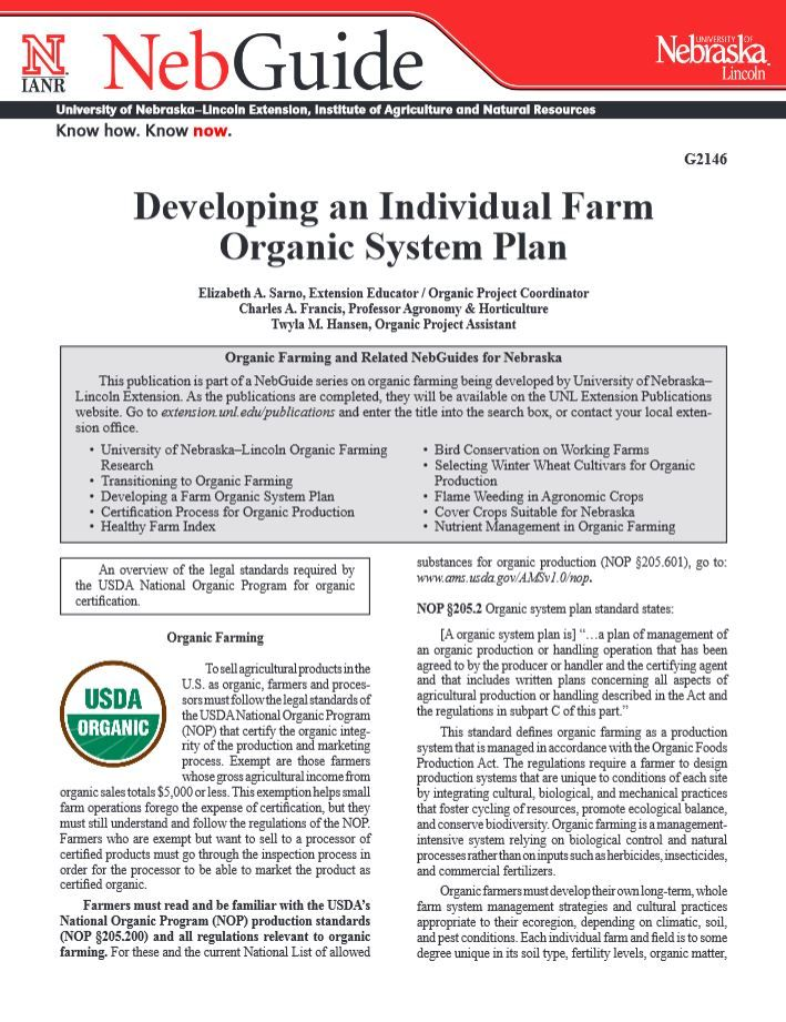 Developing an Individual Farm Organic System Plan #NebExt