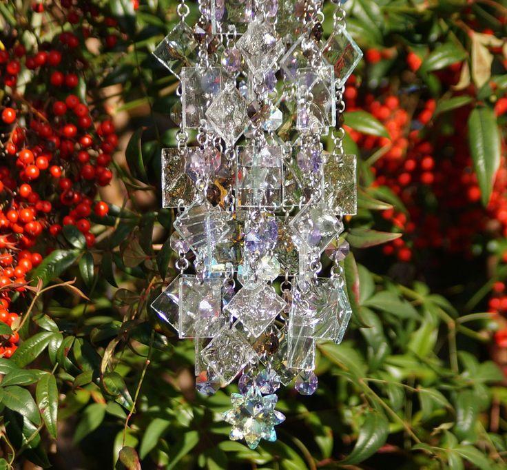 Glass Wind Chime - Glass Suncatcher - One Of A Kind Gift, Garden Decor, Anniversary, Birthday, Wedding, Housewarming, Fiori di lavanda by Anhoki on Etsy
