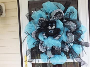 NC Panthers Door Wreath by WreathsEtcbyRobin for $70.00
