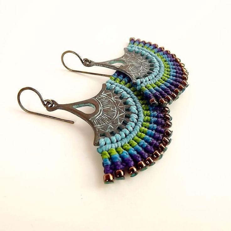 Macrame Earrings Fan Earrings Patina Earrings Peacock Earrings Blue Green Purple Earrings (35.00 USD) by neferknots