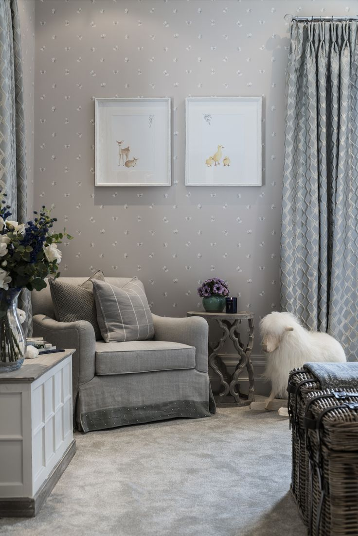 We used the softest of gentle grey tones in our interior design of this nursery, creating a peaceful haven of tranquillity and utmost comfort with luscious chair fabric by Mark Alexander.