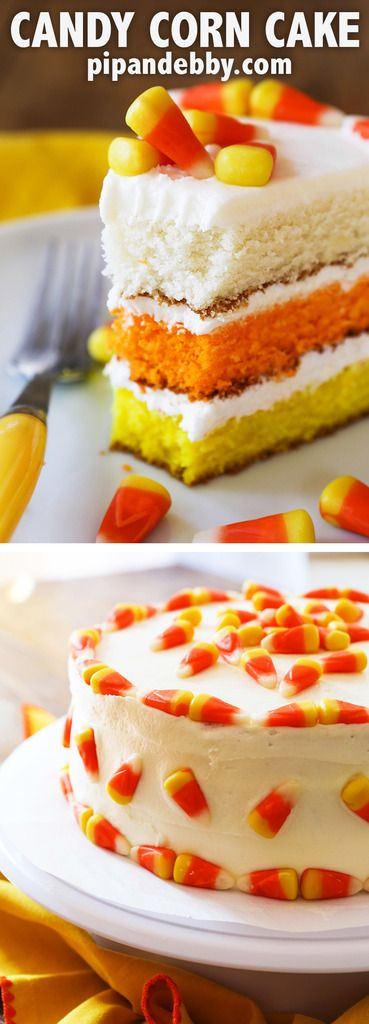 Candy Corn Cake | Fun, festive cake that will impress guests. Great for fall or Halloween gatherings!