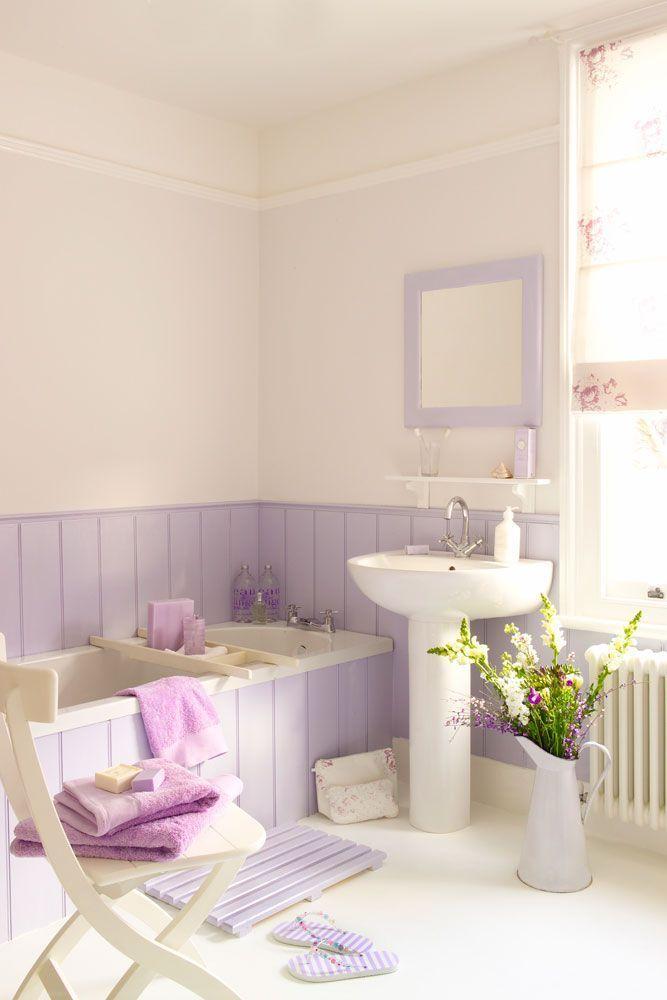 Cream And Lavender Bathroom