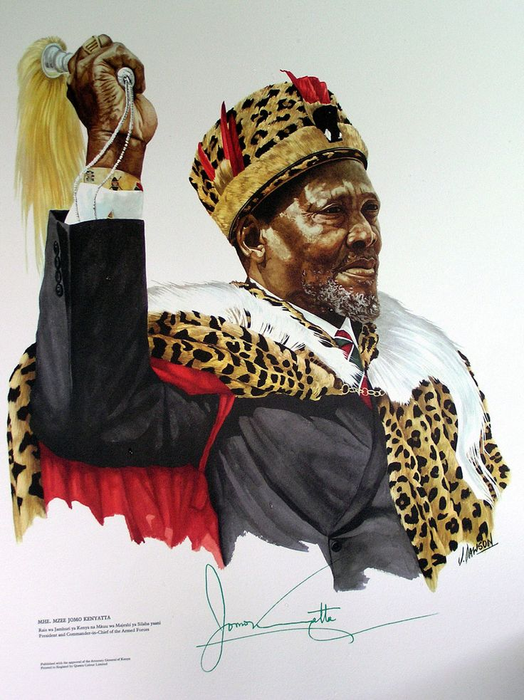 History: This is Jomo Kenyatta. Jomo Kenyatta was the leader of Kenya from independence in 1963, to his death in 1978, serving first as Prime Minister and then as President. He is considered the founding father of the Kenyan nation.