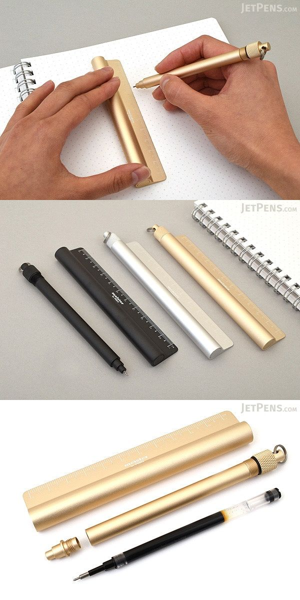 Winner of the 2016 ISOT Design award, this clever pen ensures that you'll always have a ruler and straight-edge on hand when you need one. It comes with a sturdy aluminum holder with an 11 cm ruler printed along its edge.