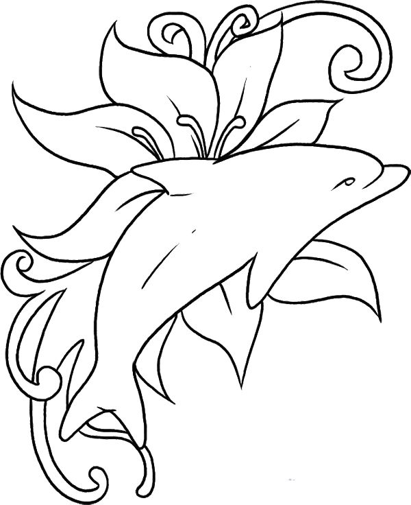 Dolphin The Fish Was Playing In A Sea Of Flowers Coloring Pages