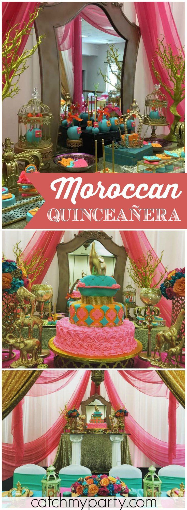 Here's a beautiful Moroccan style Quinceañera in hot pink and orange! See more party ideas at Catchmyparty.com!