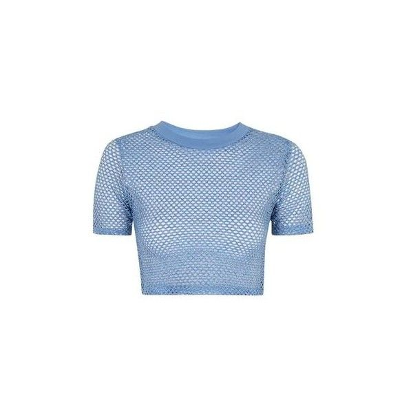 TopShop Airtex Cropped Tee ($22) ❤ liked on Polyvore featuring tops, t-shirts, crop top, shirts, denim, sports shirts, crop shirts, tee-shirt, t shirts and blue t shirt