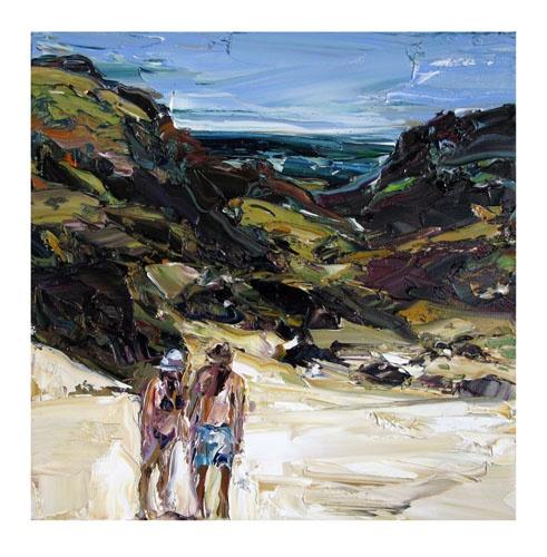 Nicholas Harding Beach figures (two hats) 2010 oil on Belgian linen 56 x 56cm