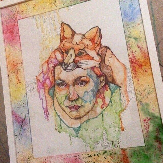 Портрет, акварельные карандаши, лиса, подарок