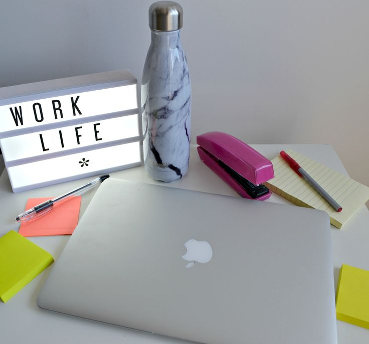 Brighten up your desk with these cute, new My Cinema Lightbox customizable signs. And a gorgeous White Marble S'well Bottle from their new collection doesn't hurt either!