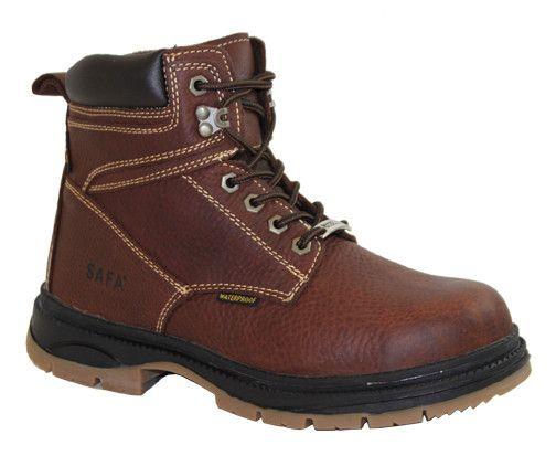 SAFA Mens Dark Brown 6in Waterproof Steel Toe Work Boot