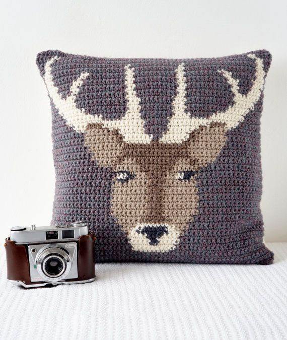 Crochet Pillow Cover Pattern Cushion PDF Stag Woodland Decor Countryside Wildlife Animals Deer Modern Decor